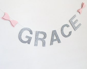 Paper Bow Glitter Name Banner - Gold Silver Glitter, Pink, Mint, Yellow bows