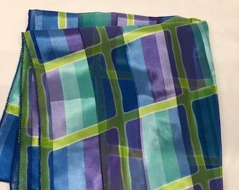 Vintage Square Sheer Bright Blue, Green & Purple Geometric Asymmetrical Pint Scarf. Pretty Head or Neck Wrap.