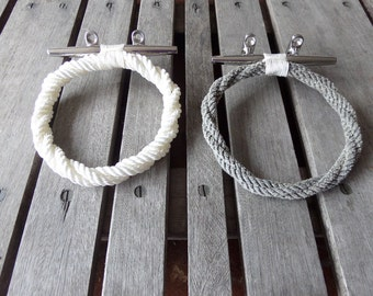 Rope Towel Ring With Stainless Steel Cleat Nautical Bathroom or Kitchen Fixture Towel Holder