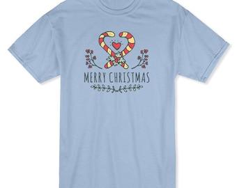 Merry Christmas Crossed Candy Cane Heart Inside  Men's Light Blue T-shirt