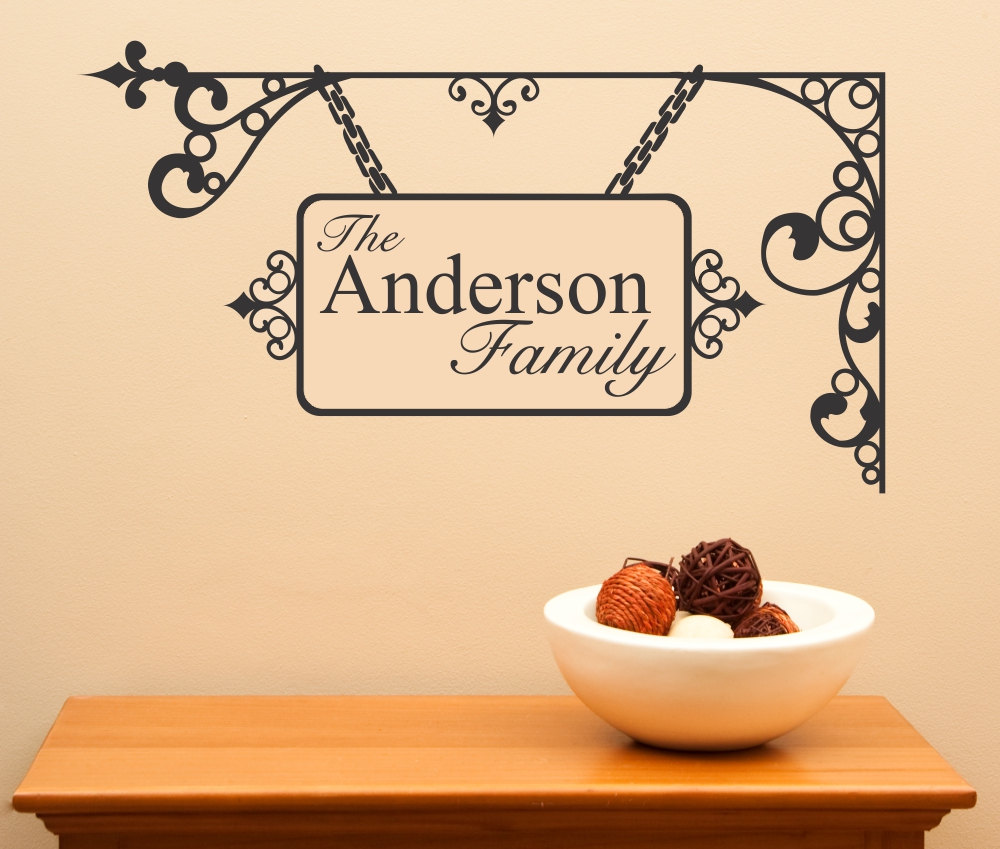 Custom Family Name Wrought Iron Appearing... Vinyl Wall Decal