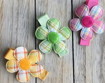 Plaid Daisy Flower No Slip Hair Clips - Buy 3 Items, Get 1 Free