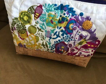 Zippered pouch bag with Alison glass panel fabric