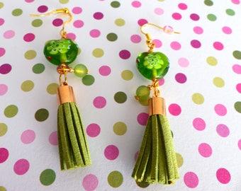 Dangle pierced earrings glass millefrori and suede tassel