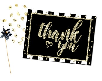 Thank You Card, Black White and Gold Thank You Card, Printable Thank You Card, Instant download
