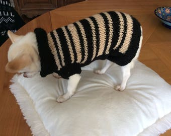 Black and beige wool sweater for dog or cat about between 1 and 1 kg 800 kg
