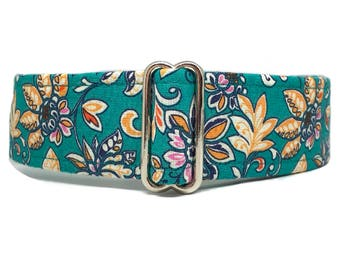 The Flower Garden - Teal Blue Green Floral Dog Collar
