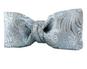 Mens Formal Powder Blue Silver Bow Tie , Groomsmen Bowtie , Pretied Clip-on Brocade , Prom Wear , Wedding Accessories for Men , Gift for Him
