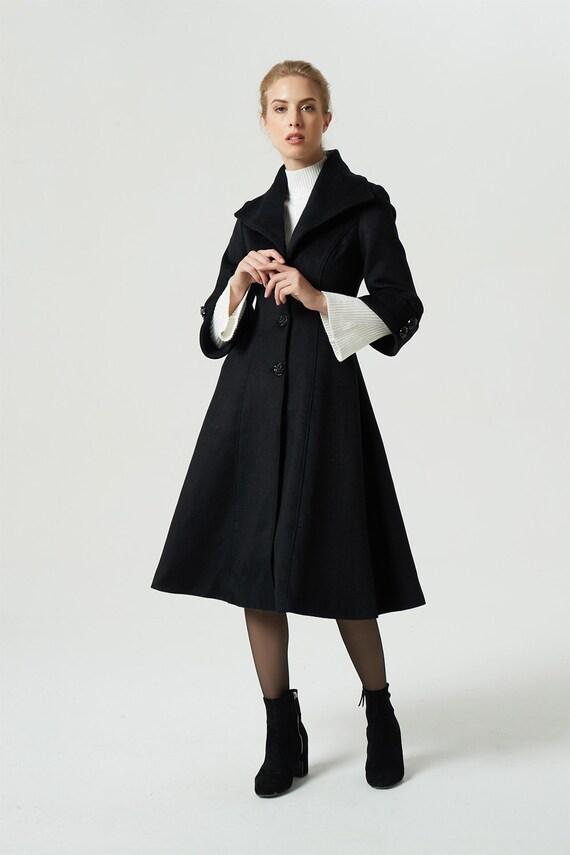 handmade coat waist winter black coat coat coat coat 1964 fitted coat coat lapel women collar coat coat midi warm wool qqTxz8Z4