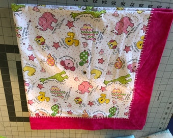 Flannel, Blanket, receiving, blanket, Pink, girl