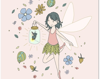 Girl Nursery Art -- The Fairy and The Firefly -- Children's Art Print -- Kids Wall Art -- Girls Room Art -- Fairy Art