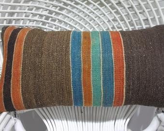 striped throw pillow handmade pillow case kilim cushion cotton wool kilim cover throw pillow kilim stool 12x24 lumbar throw 12x24 1248
