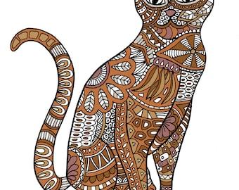 Cat doodle coloring page