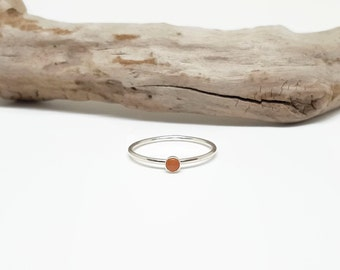 Dainty Silver Stack Ring - Moonstone Ring - Gemstone Promise Ring - Simple Stacking Jewelry - Delicate Gift for Minimalist - Peach Moonstone