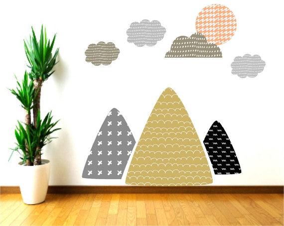 Mountain Wall Decor Mountain Wall Decals for Nursery Cloud