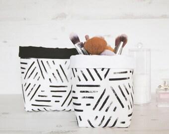 2x Fabric Bin set Nordic geometric style, black and white storage baskets.