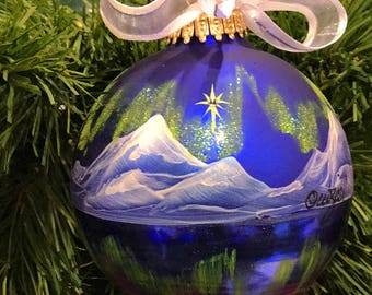 Northern Lights Reflections personalized hand-painted ornament