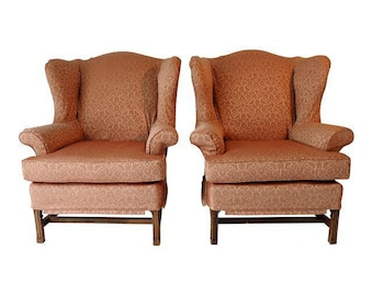Org 499.00 Vintage Mahogany Frame Set Of Two Wingback Chairs With Peach  Slipcover