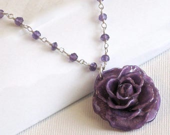 Real Purple Rose Amethyst Necklace - Sterling Silver