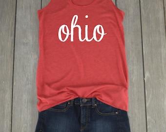 Ohio Tank | Ohio Shirt - Ohio Script - Racerback Tank