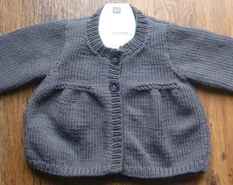 Hand Knitted Modern Grey Merino Wool Baby Cardigan 6 - 12 months