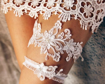 Wedding Garter Lace Garter Set Bridal Garter Belt Rustic Wedding Boho Garter Toss Garter Gift For Bride