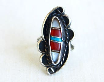 Southwestern Statement Ring Size 6 Vintage Sterling Silver Turquoise Mother of Pearl Boho Jewelry Long Ring