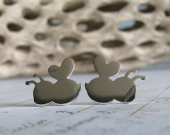 Bumble Bee stud earrings. Simple sterling silver or 14k gold everyday posts.  Honey lover jewelry. Buzz. Nature insect earrings.