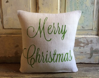 Pillow Cover | Merry Christmas pillow | Burlap Pillow | Christmas pillow | Christmas decor | Holiday pillow | Holiday Decor |