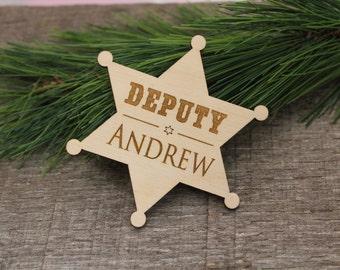 Deputy Badge, Personalized, Engraved, Ringbearer, Ring Bearer, Badge, Badges, Name, Ring Security, Rustic, Western, Wedding