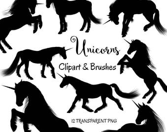 "Unicorn clipart: ""Unicorn Silhouettes"" unicorn photoshop brushes and PNG files, unicorn graphics, magical clipart, magical unicorns"