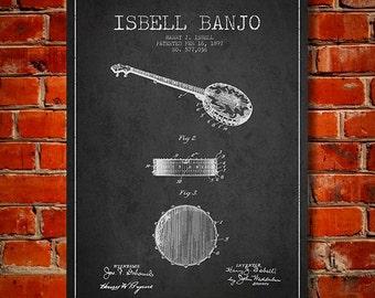 1897 Isbell Banjo Patent, Canvas Print, Wall Art, Home Decor, Gift Idea