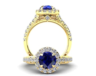 Blue Sapphire Engagement Ring 1.50 Carat Blue Sapphire And Diamond Ring In 14k or 18k Yellow Gold Style Number WH1BUY