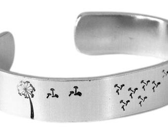 Dandelion Wish Hand Stamped Cuff Bracelet - Adjustable Aluminum Bracelet - Graduation Gift