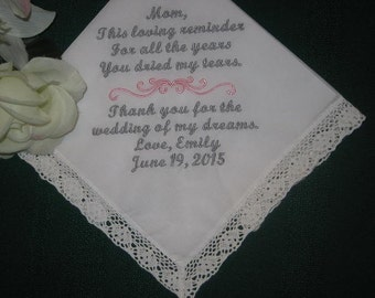 Mother of the Bride, Personalized Wedding Handkerchief, Embroidered ladies hankie, hanky 116S