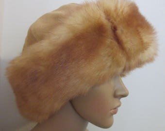 Vintage 1970's 'Plonka' Suede & Fur Hat - GREAT For A Festival!! MADE In POLAND