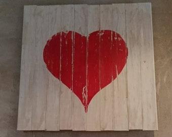 wooden plank distressed heart wall art
