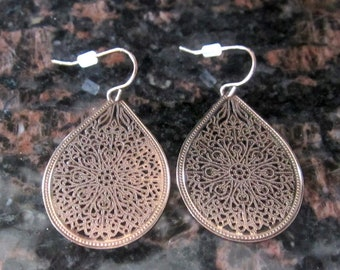 NEW Blush Rose Gold Tear Drop Dangle Earrings -  Filigree Earrings -  Hypo Allergenic - Jewelry- Lace Earrings - Earrings - Gift For Her