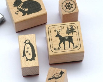 Stamp set winter forest animals