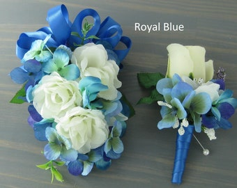 Wedding Prom Blue Cream Roses Flowers Wrist Corsage or 2pc with Boutonniere