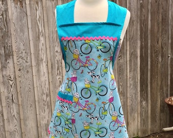 Retro Inspired Apron, Dogs & Bicycles