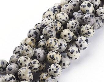 10mm Natural Dalmatian Jasper Beads Round 10mm Dalmatian Jasper 10mm Dalmatian Bead 10mm Gemstone Round Gemstone Mala Dalmatian 10mm