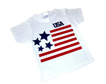 Iron On Applique, Applique Designs, USA Flag T Shirt, Stars and Stripes, Patriotic 4th of July, DIY T Shirt, DIY Gift For Boys or Girls