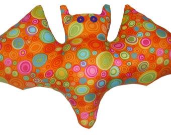 Mod Circle Orange Bat Pillow