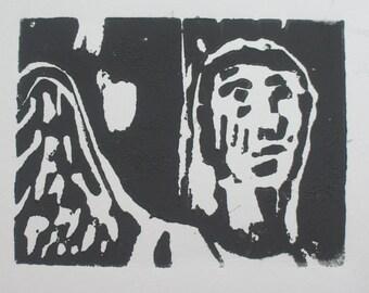 angel gazing woodblock print (simplified)