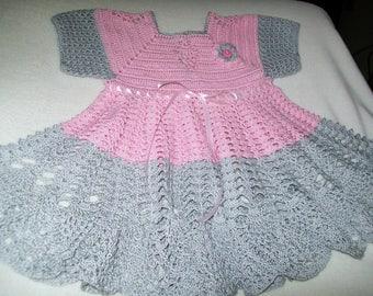 Crochet Baby Dress, Pink, Handmade
