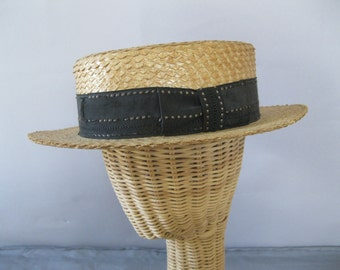 Men's Straw Hat - Antique 1920s  Gatsby Style Hat -  Vintage Straw Boater -  Skimmer Hat -Size 7
