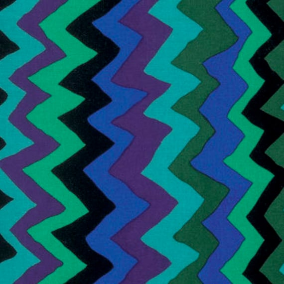SOUND WAVES Green pwbm062 Brandon Mably for Kaffe Fassett Collective Sold in 1/2 yd increments