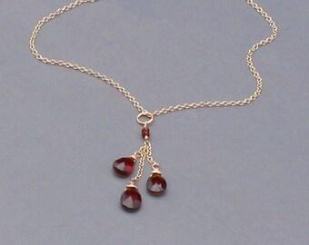 Red Garnet Necklace, Silver, Gold or Rose Gold Filled, Mozambique Garnet, January Birthstone
