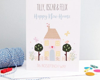 Personalised Happy New Home Card for New Home Congratulations, New Home Owners, New House